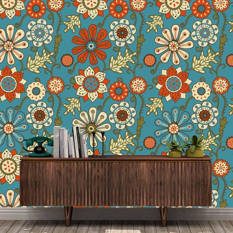 Fotobehang retro bloemen patroon 1