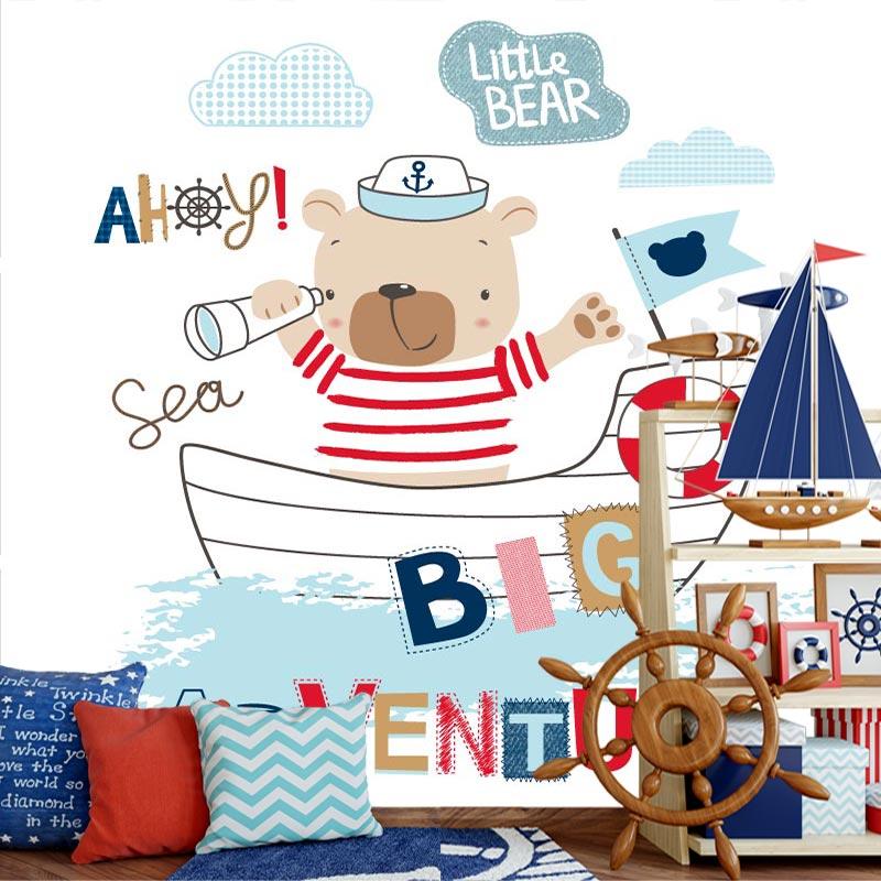 Fotobehang Beertje in boot