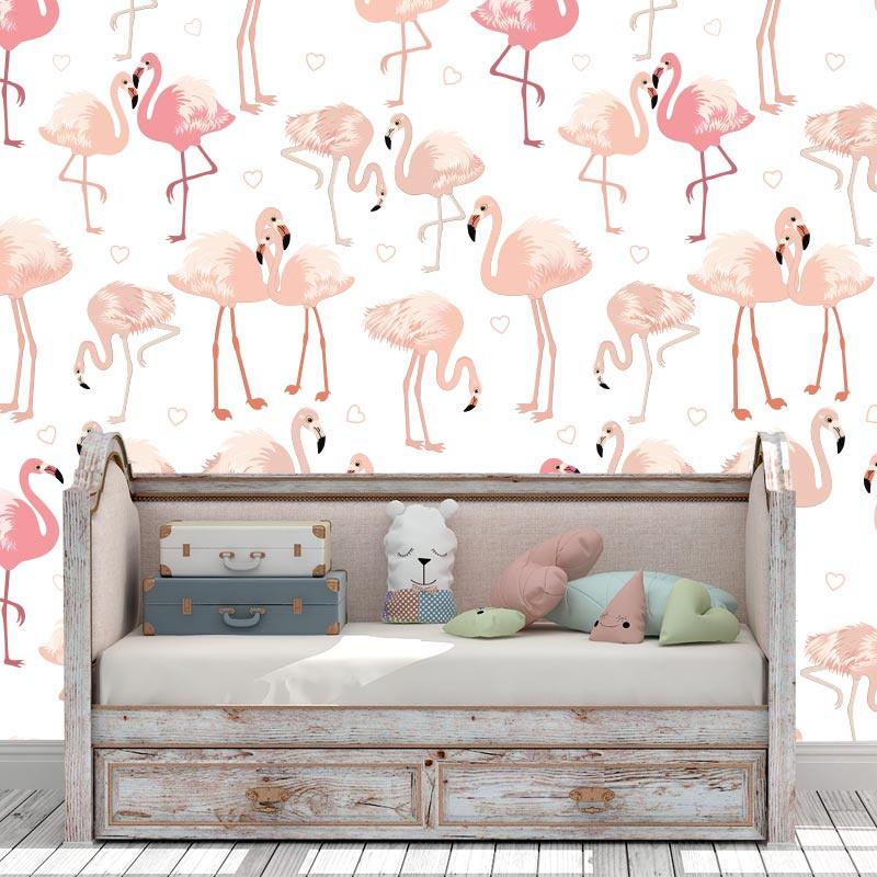 Fotobehang flamingo patroon 4
