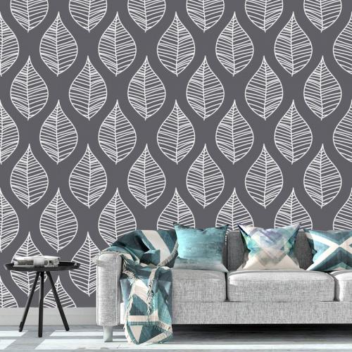 Fotobehang Bladeren patroon grijs wit