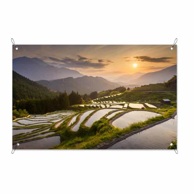 Tuinposter Aziatische rijstvelden