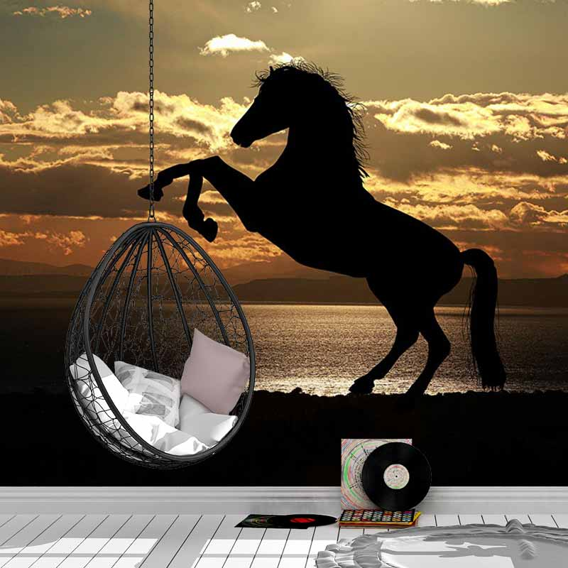 Fotobehang Paard in avondzon