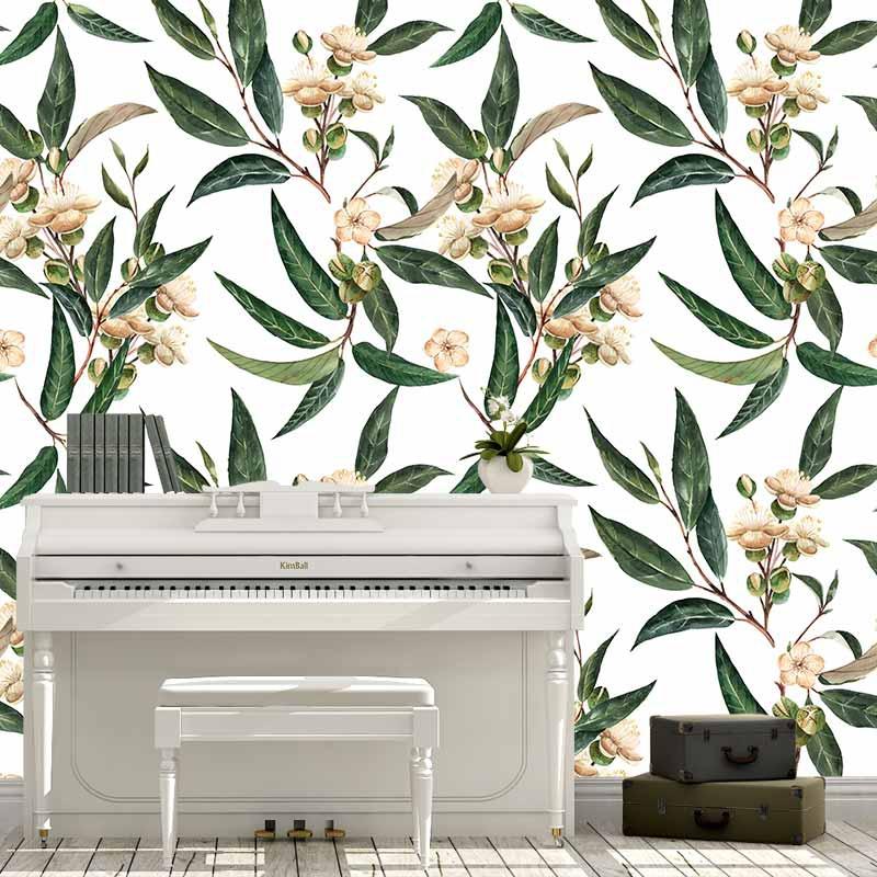 Fotobehang Durian bladeren aquarel