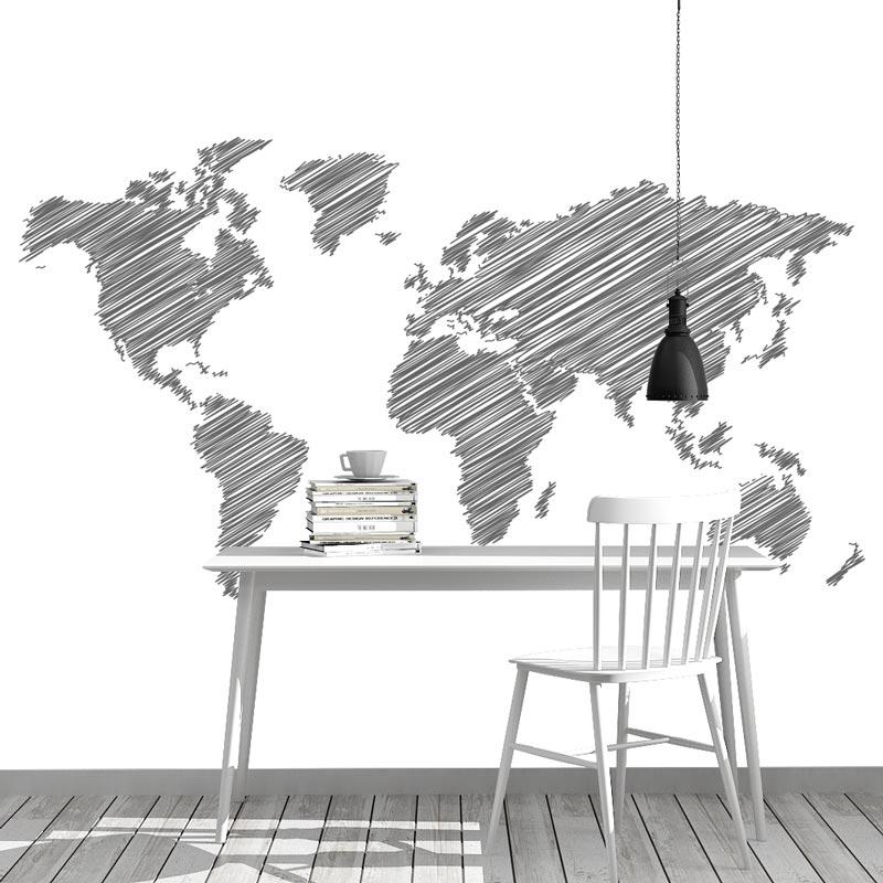 Fotobehang Wereldkaart gestreept antraciet