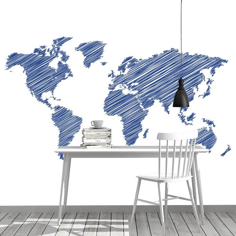 Fotobehang Wereldkaart gestreept blauw