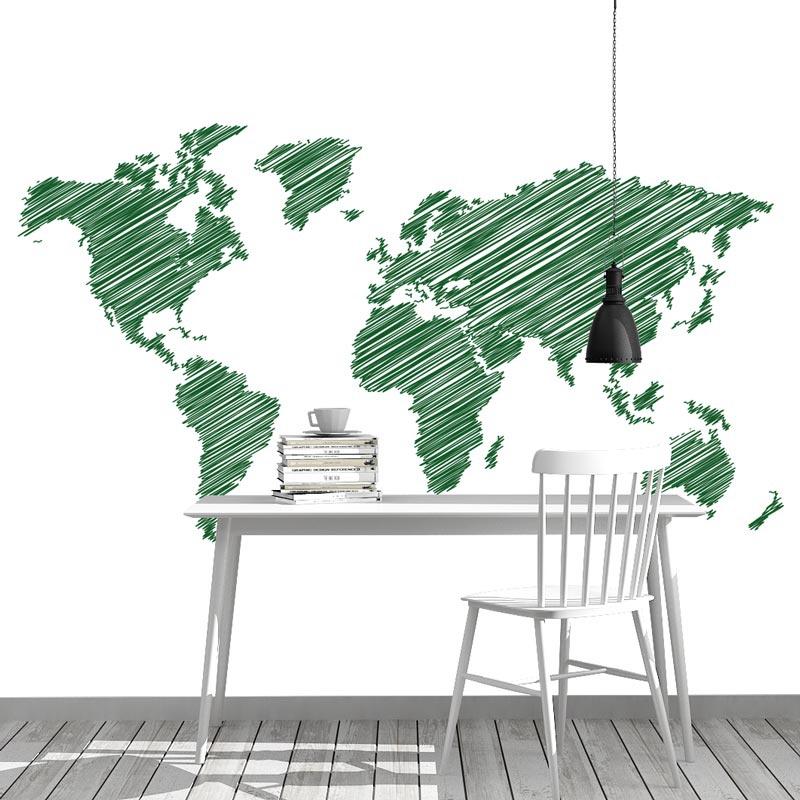Fotobehang Wereldkaart gestreept groen
