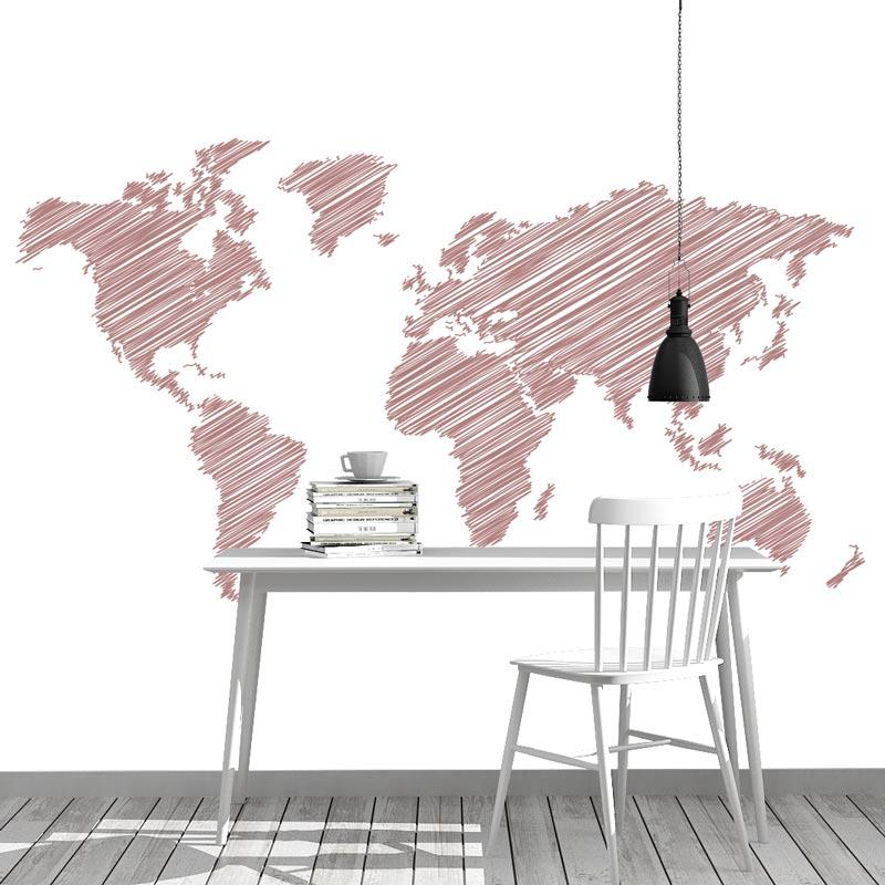 Fotobehang Wereldkaart gestreept roze