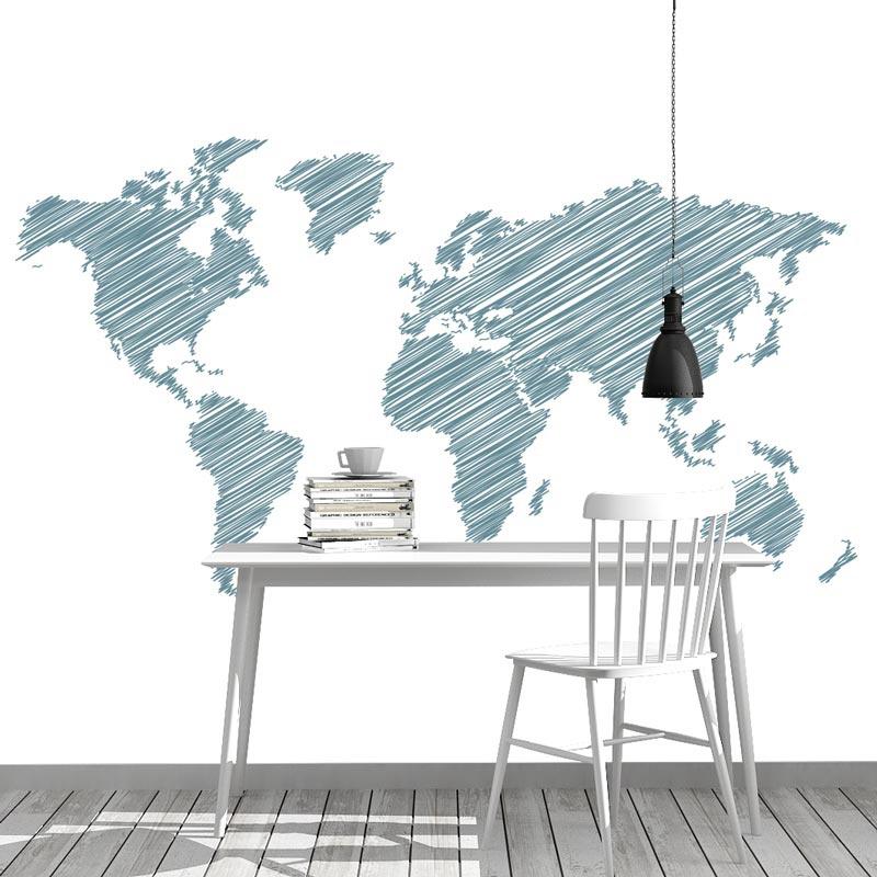 Fotobehang Wereldkaart gestreept turqouise