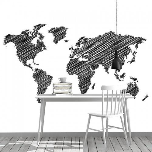Fotobehang Wereldkaar gestreept zwart