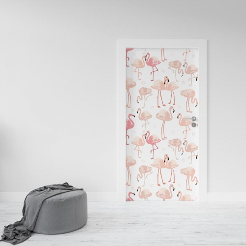 Deursticker Flamingo patroon 4