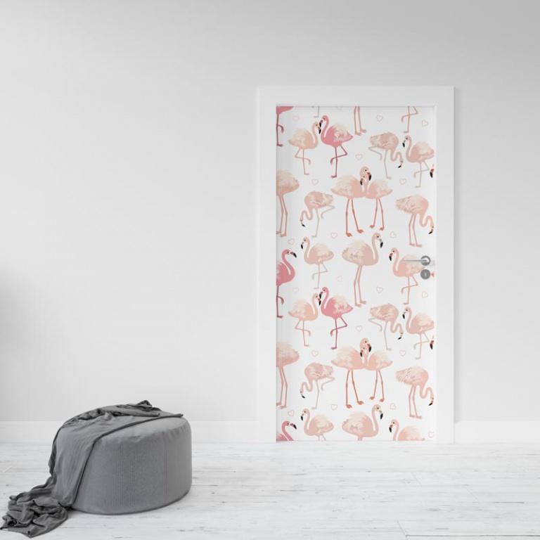 Deursticker Flamingo patroon 4