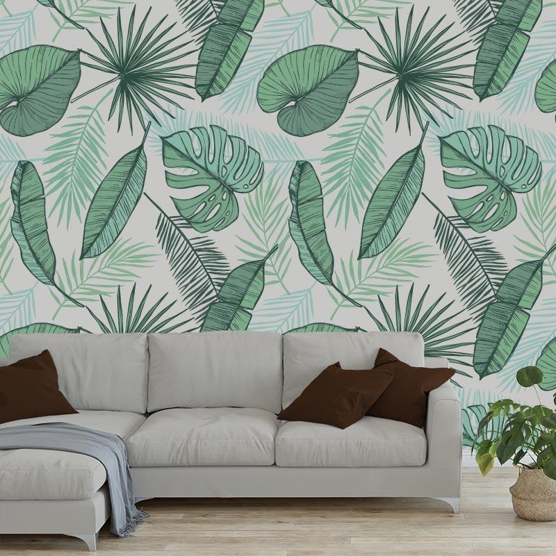 Fotobehang Tropische bladeren grijs