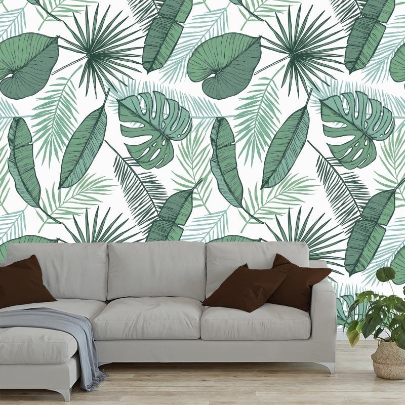 Fotobehang Tropische bladeren patroon WI