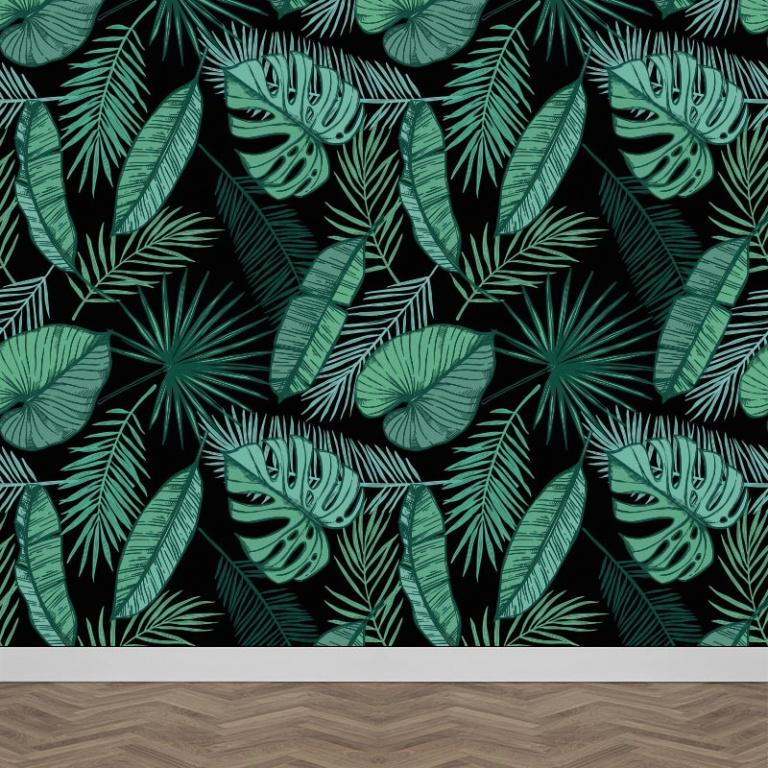 Fotobehang Tropische bladeren patroon Zwart