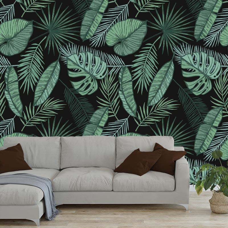 Fotobehang Tropische bladeren patroon ZW