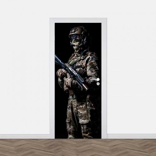 Deursticker Commando militair