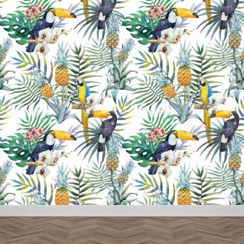 Fotobehang Tropische vogels patroon