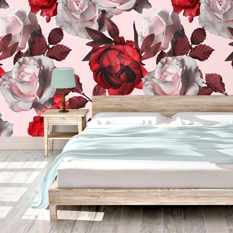 Bed Met Rozen.Fotobehang Rozen Illustratie