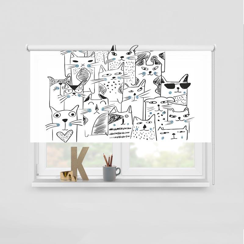 Rolgordijn Kattengroep turqoise