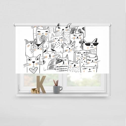 Rolgordijn Kattengroep zalmrose