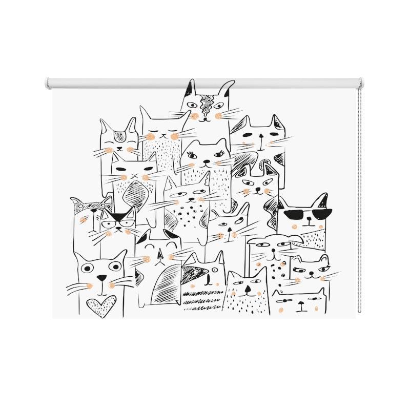Rolgordijn Kattengroep zalmroze