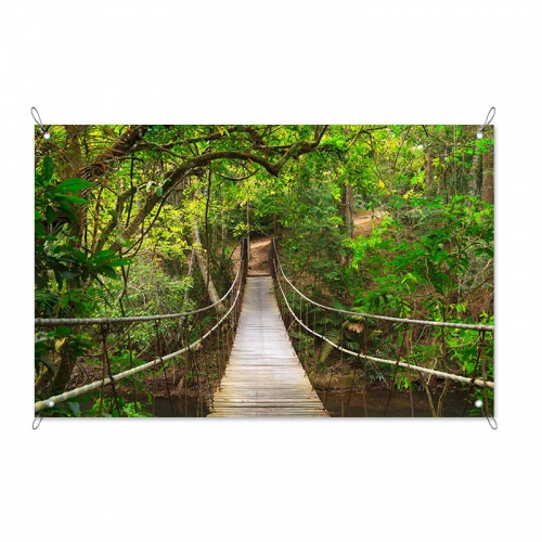 Tuinposter Touwbrug in regenwoud