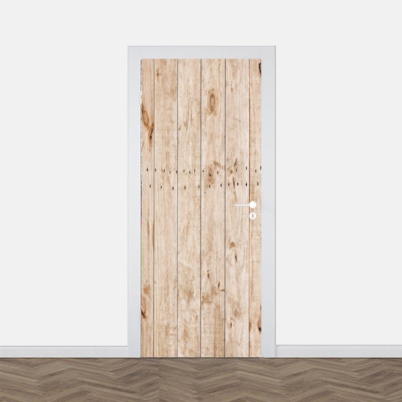 Deursticker Lichte houten planken