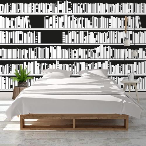 Fotobehang Boekenkast zwartwit