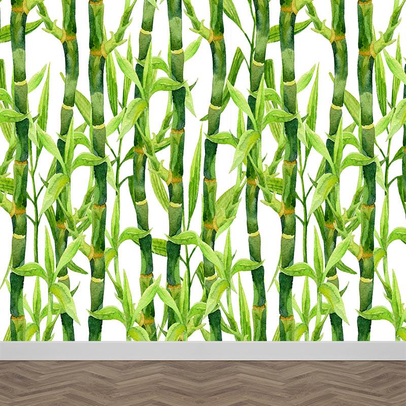 Fotobehang Bamboe in aquarel