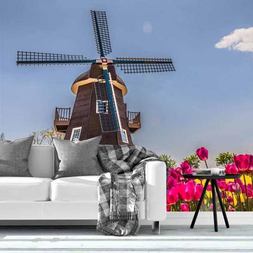Fotobehang-molen-met-tulpen