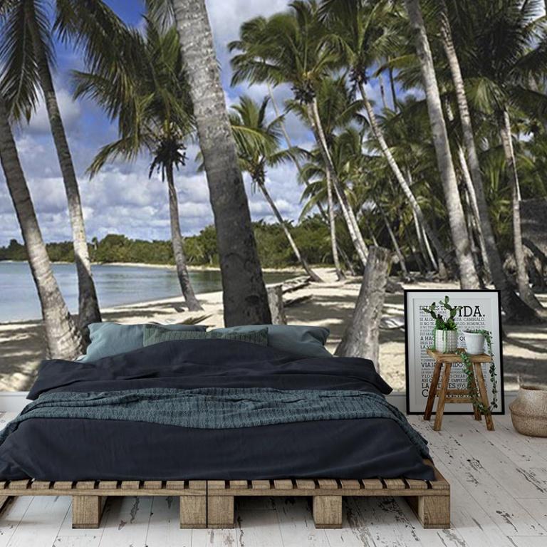 Fotobehang-Palmbomen-op-het-strand