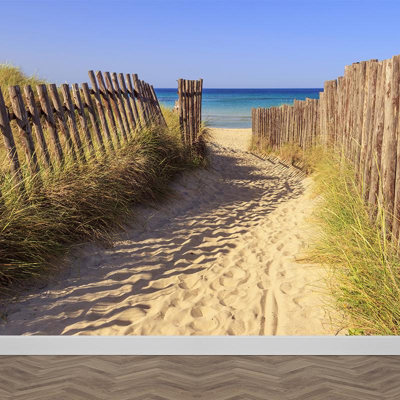 Fotobehang Strandpad naar zee