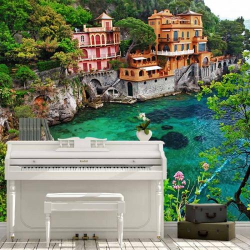 Fotobehang--Italiaans-dorpje-aan-Middellandse-zee