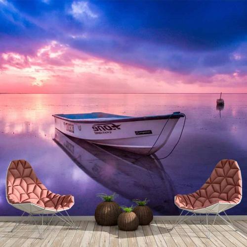 Fotobehang-Bootje-in-zee-bij-avond