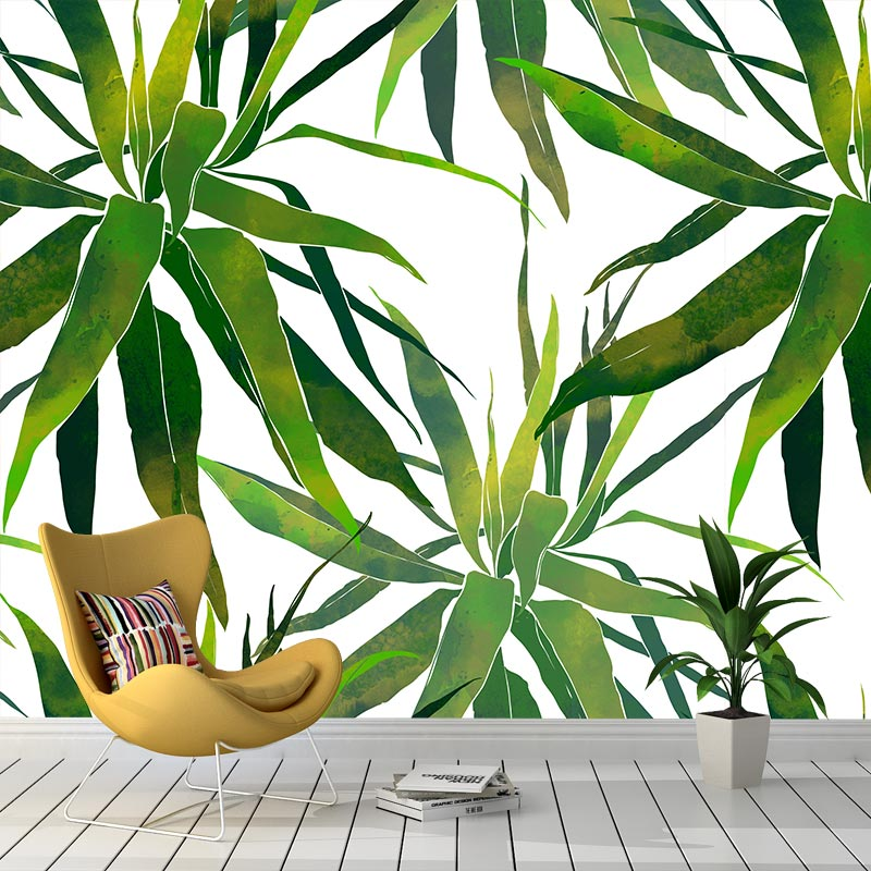 Fotobehang Tropische bladeren patroon aquarel