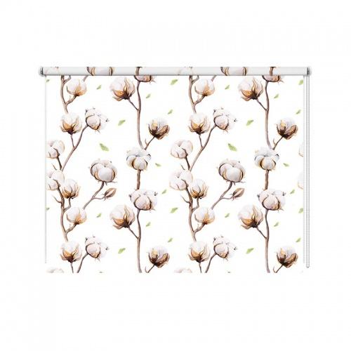 Rolgordijn Katoenplant patroon aquarel