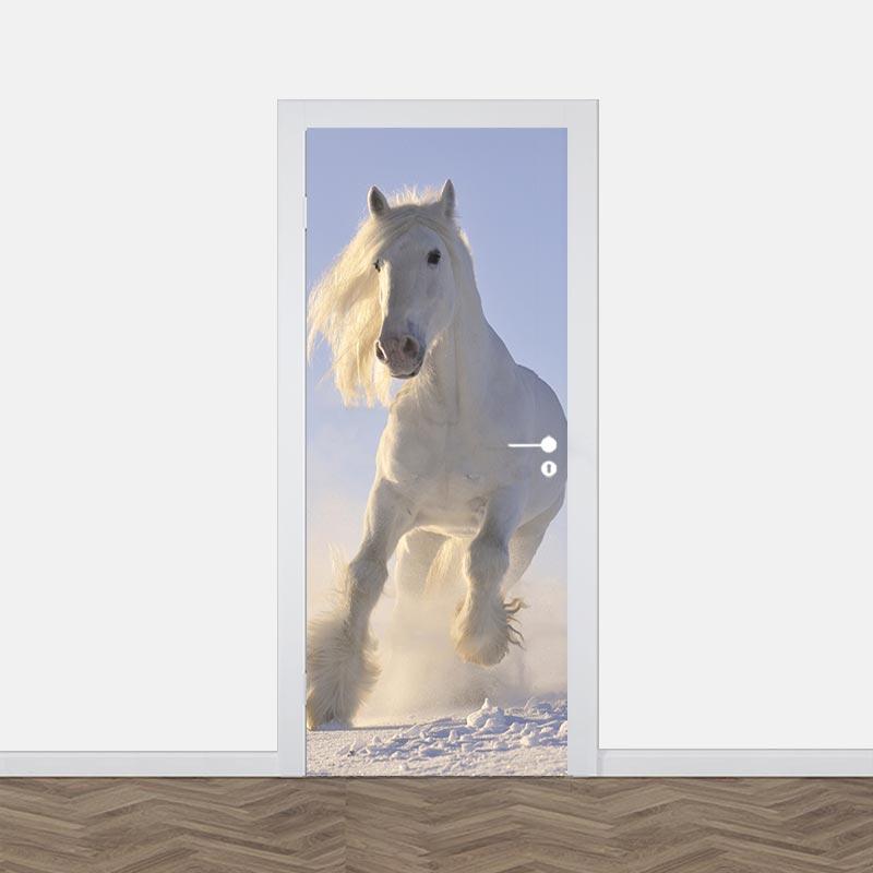 Deursticker Paard in sneeuw