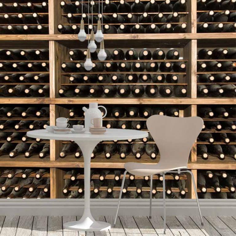 Fotobehang-wijnflessen