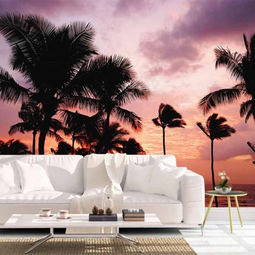 Fotobehang-Palmbomen-ondergaande-zon