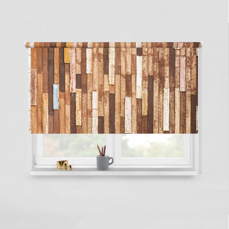 Rolgordijn Houten planken I