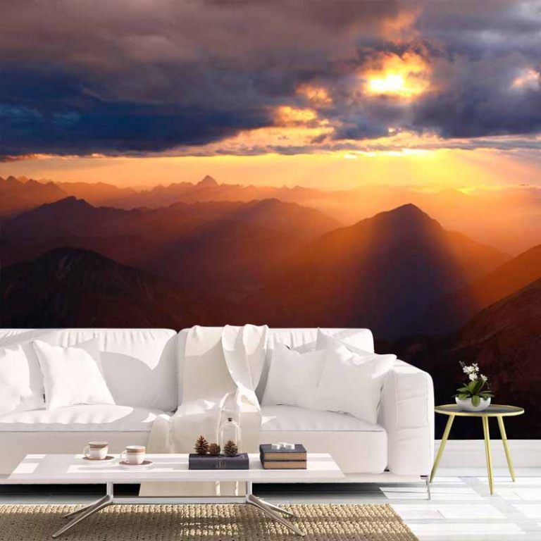Fotobehang-Zonsondergang-bergen