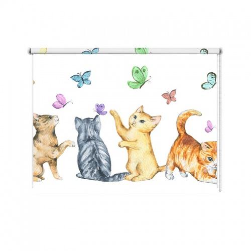 Rolgordijn Vlindertjes en kittens