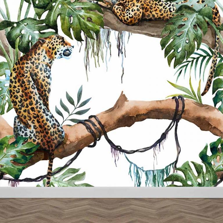 Fotobehang Jaguar Jungle patroon