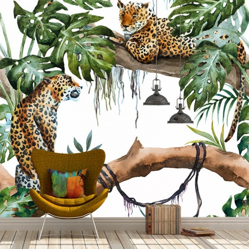 Fotobehang Jaguar Jungle patroon