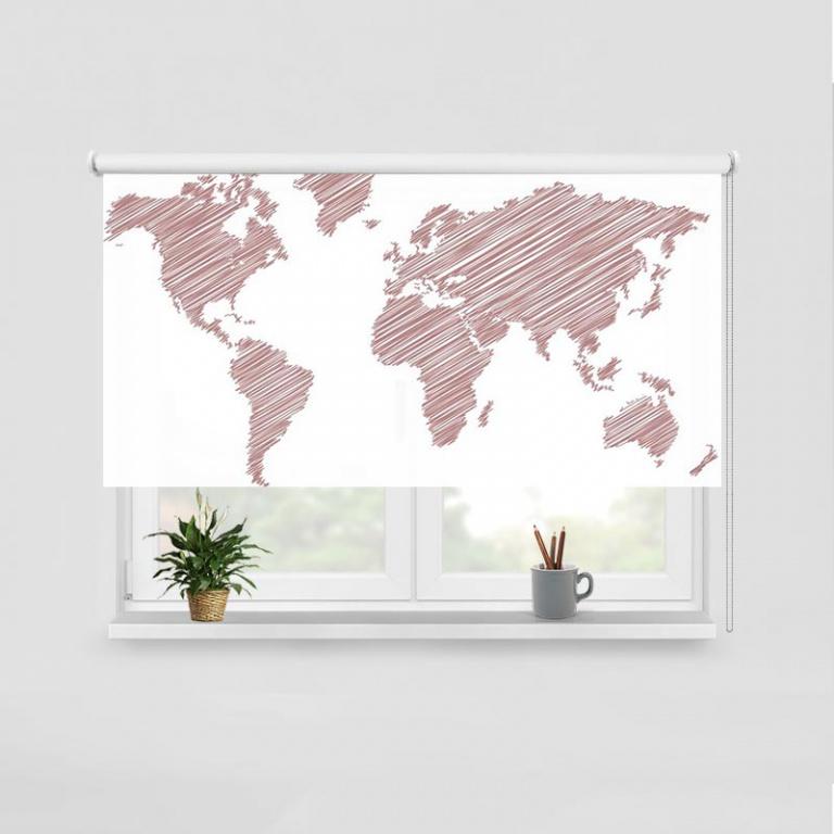 Rolgordijn Wereldkaart gestreept roze