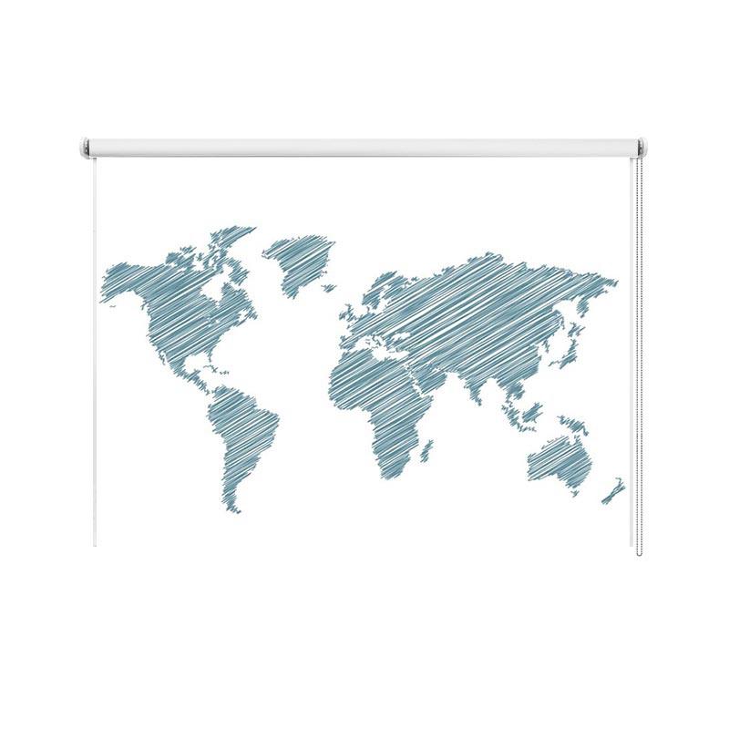 Rolgordijn Wereldkaart gestreept turquoise