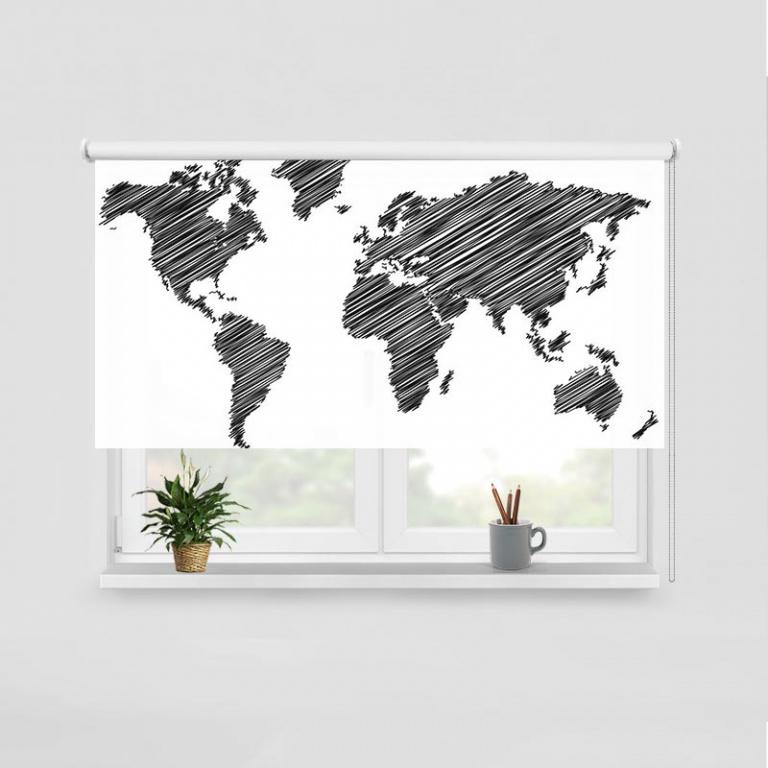 Rolgordijn Wereldkaart gestreept zwart