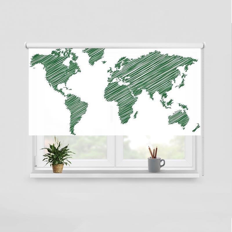 Rolgordijn Wereldkaart gestreept groen