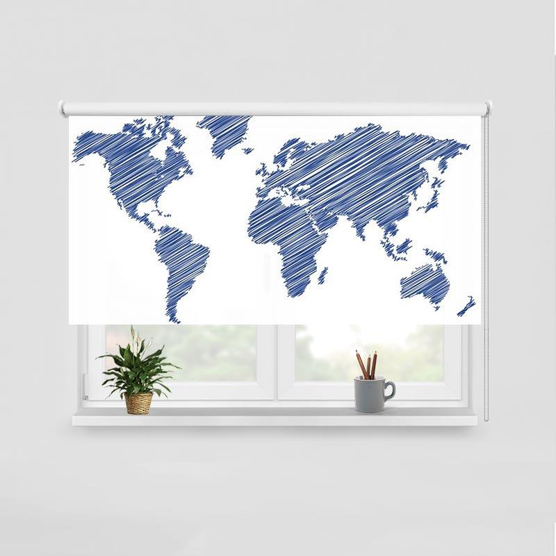 Rolgordijn Wereldkaart gestreept blauw
