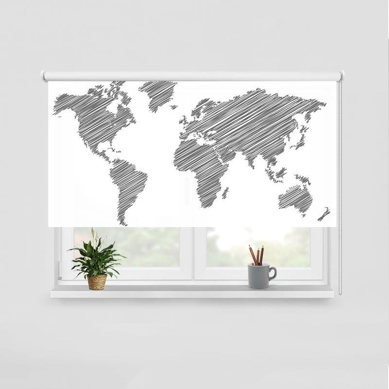 Rolgordijn Wereldkaart gestreept grijs